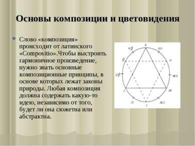 Основы композиции и цветовидения Слово «композиция» происходит от латинского ...