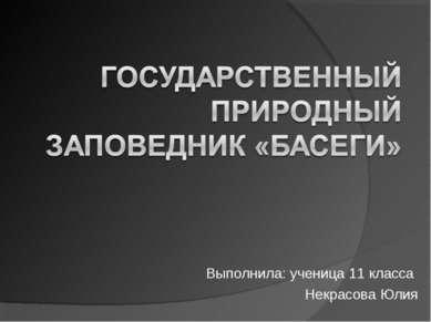 Выполнила: ученица 11 класса Некрасова Юлия