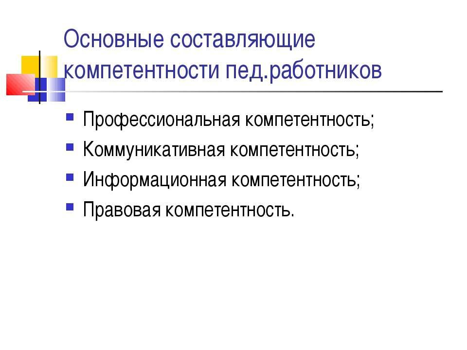 Основные составляющие компетентности пед.работников Профессиональная компетен...