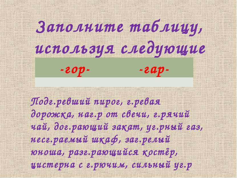Заполните таблицу, используя следующие сочетания: Подг.ревший пирог, г.ревая ...