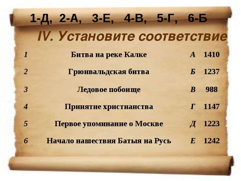 IV. Установите соответствие 1-Д, 2-А, 3-Е, 4-В, 5-Г, 6-Б