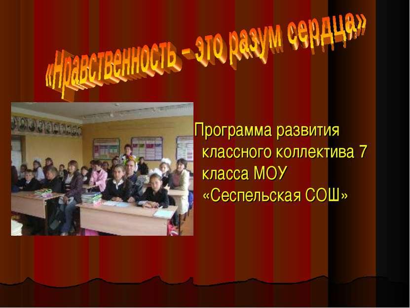 Программа развития классного коллектива 7 класса МОУ «Сеспельская СОШ»