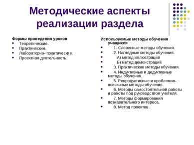 Методические аспекты реализации раздела Формы проведения уроков Теоретические...