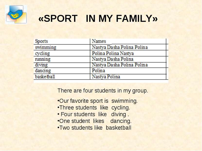 «SPORT IN MY FAMILY» There are four students in my group. Our favorite sport ...