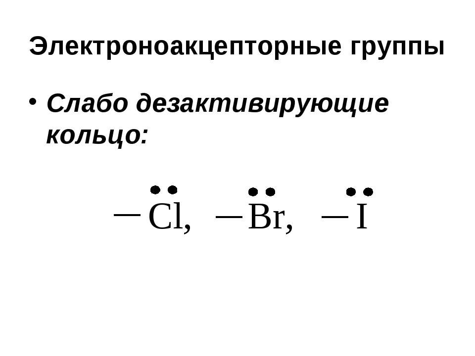 Электроноакцепторные группы Слабо дезактивирующие кольцо: