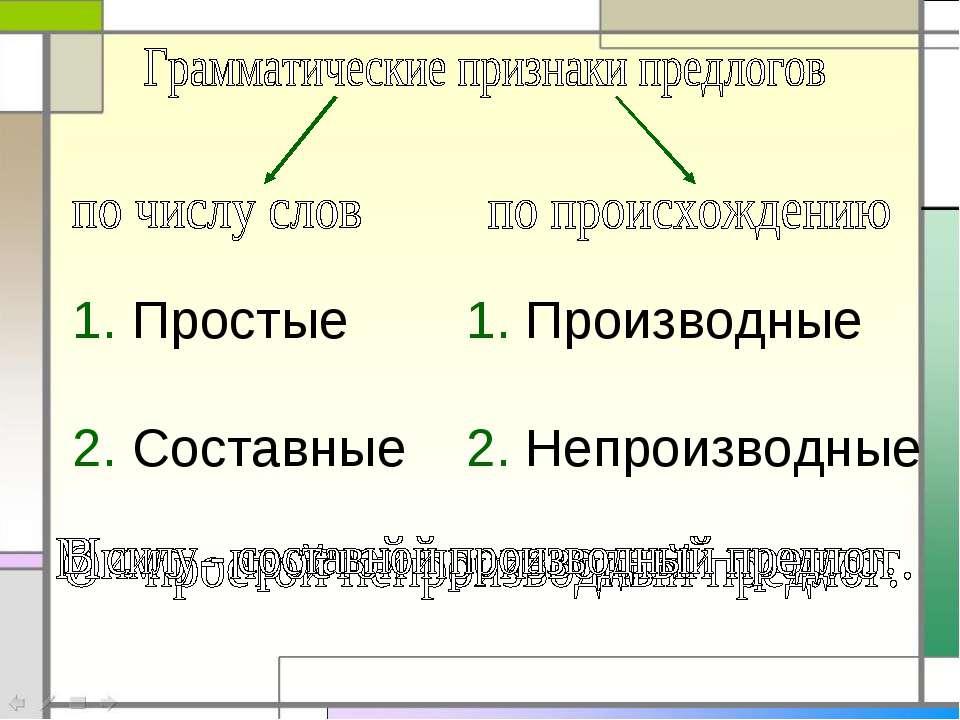 1. Простые 2. Составные 1. Производные 2. Непроизводные
