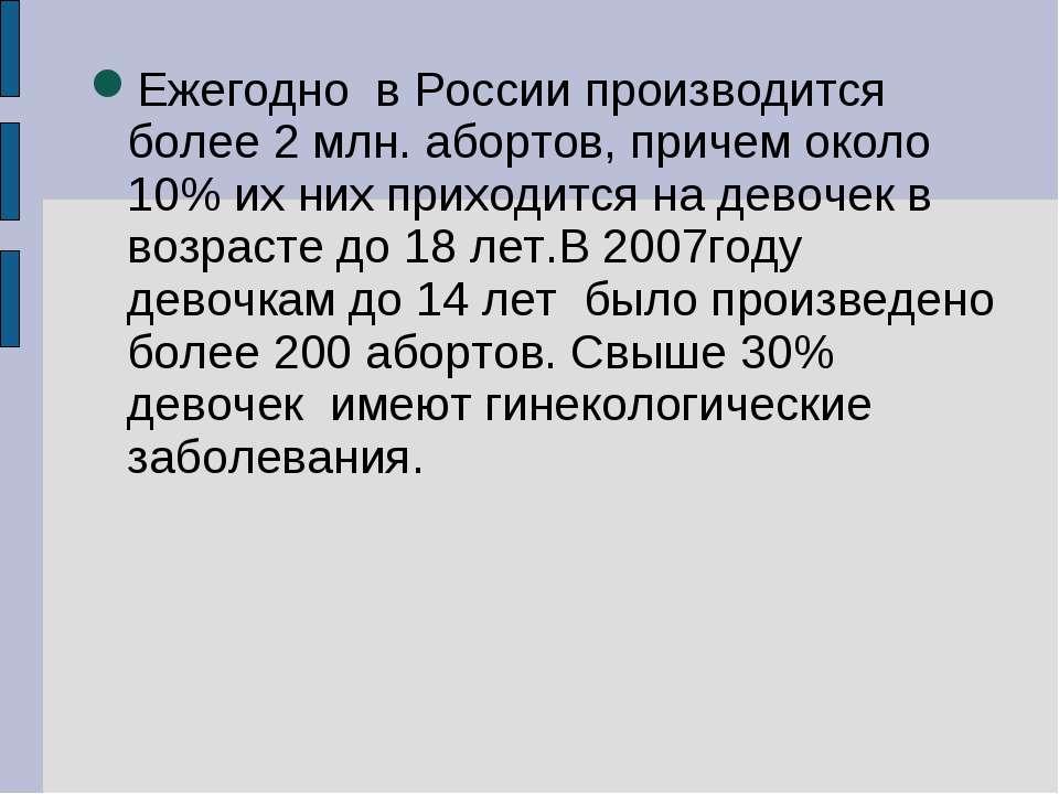 Ежегодно в России производится более 2 млн. абортов, причем около 10% их них ...