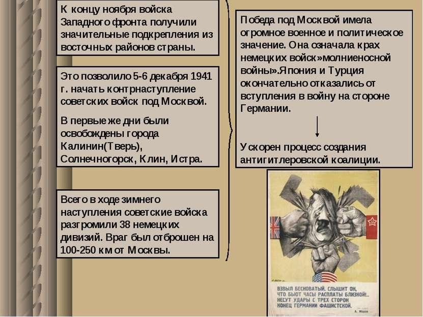 К концу ноября войска Западного фронта получили значительные подкрепления из ...