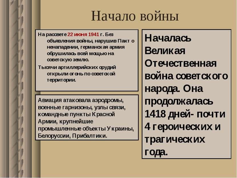 Начало войны На рассвете 22 июня 1941 г. Без объявления войны, нарушив Пакт о...
