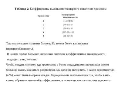 Таблица 2:Коэффициенты выживаемости первого поколения хромосом Так как меньш...