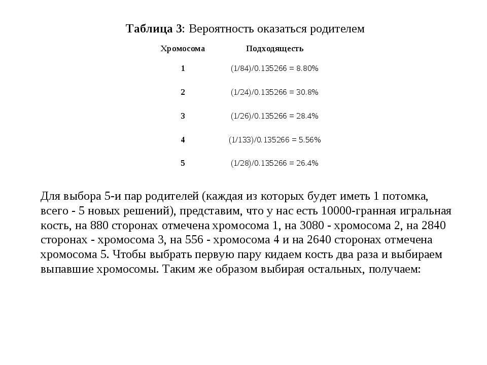 Таблица 3:Вероятность оказаться родителем Для выбора 5-и пар родителей (кажд...