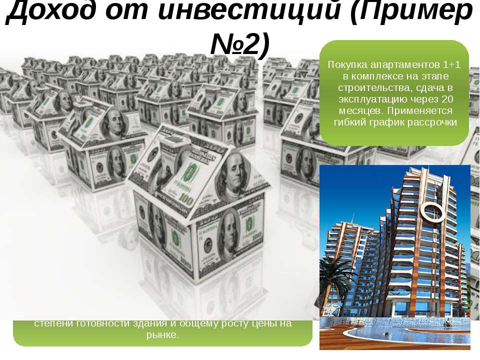 Доход от инвестиций (Пример №2) Покупка апартаментов 1+1 в комплексе на этапе...