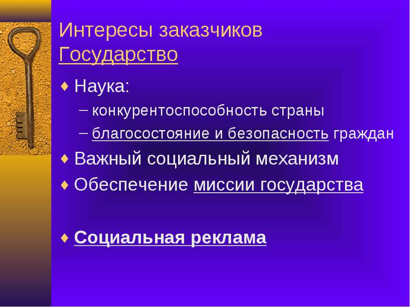 Интересы заказчиков Государство Наука: конкурентоспособность страны благосост...