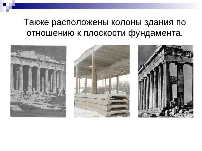 Также расположены колоны здания по отношению к плоскости фундамента.