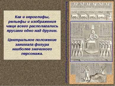 Как и иероглифы, рельефы и изображения чаще всего располагались ярусами одно ...