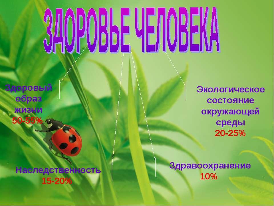 Здоровый образ жизни 50-55% Экологическое состояние окружающей среды 20-25% Н...