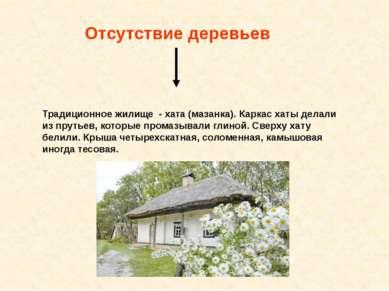 Отсутствие деревьев Традиционное жилище - хата (мазанка). Каркас хаты делали ...