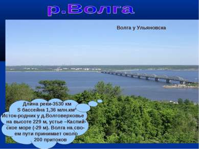 Исток Волги Длина реки-3530 км S бассейна 1,36 млн.км² Исток-родник у д.Волго...