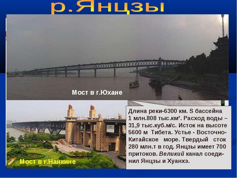 В верховьях Янцзы Янцзы у г.Нанкина Мост в г.Юхане Мост в г.Нанкине Длина рек...