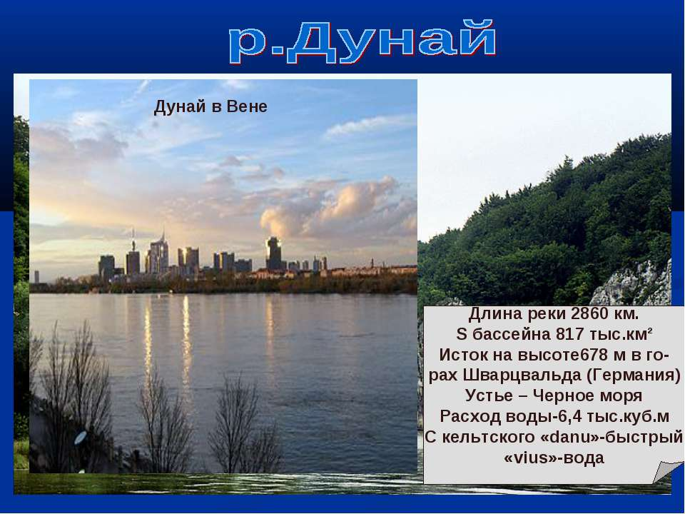 Дунай в Будапеште Дунай у Кельмхайма Дунай в Вене Длина реки 2860 км. S бассе...