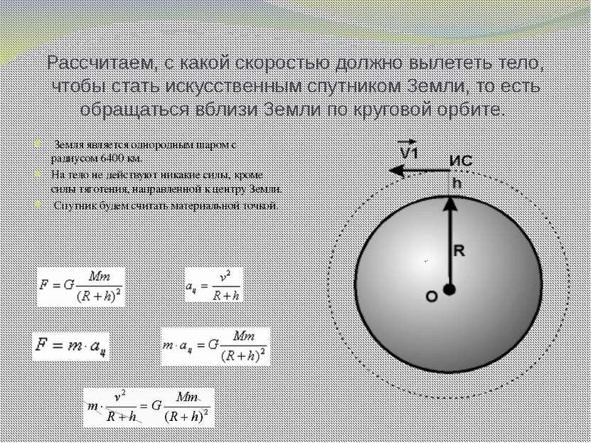 Рассчитаем, с какой скоростью должно вылететь тело, чтобы стать искусственным...