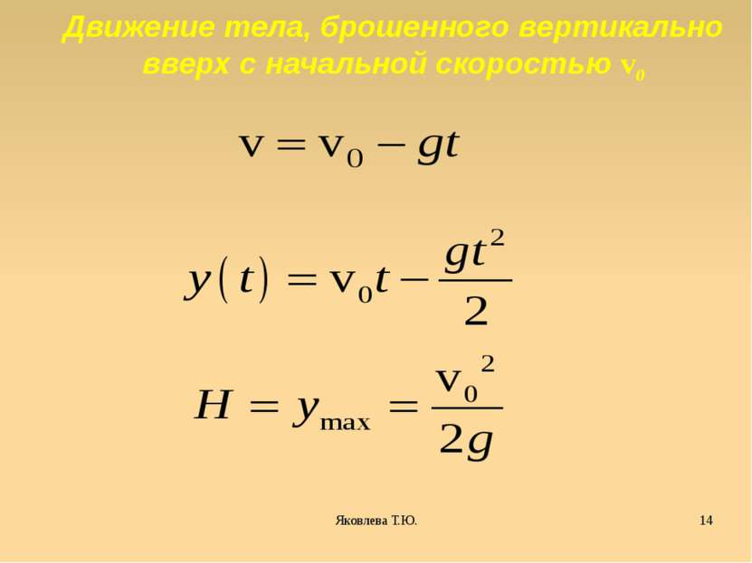 Движение тела, брошенного вертикально вверх с начальной скоростью v0 Яковлева...