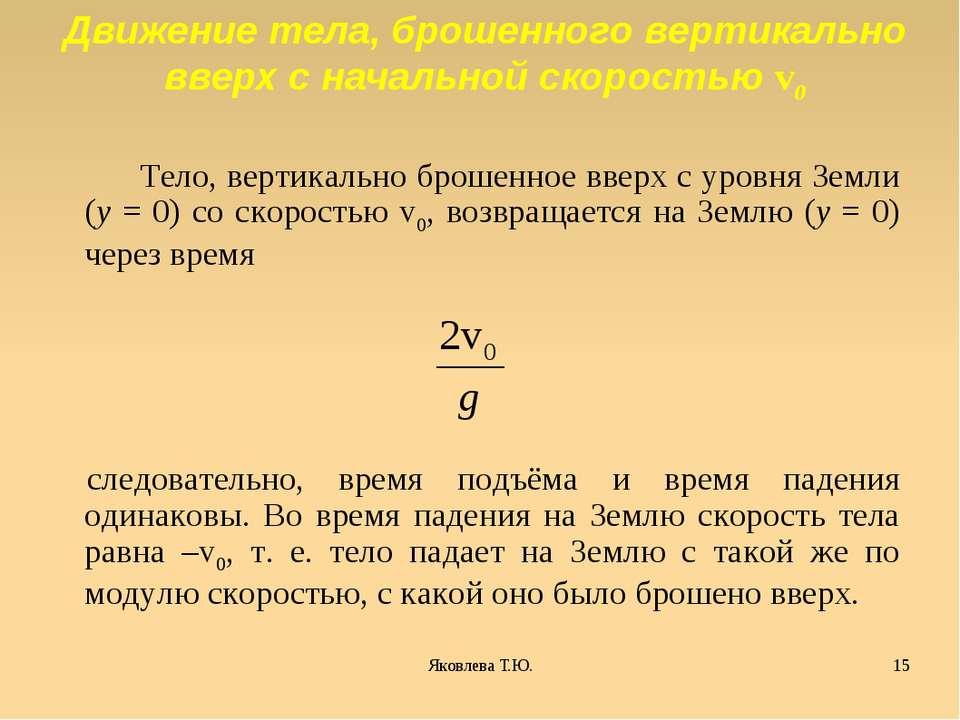 Тело, вертикально брошенное вверх с уровня Земли (y = 0) со скоростью v0, воз...