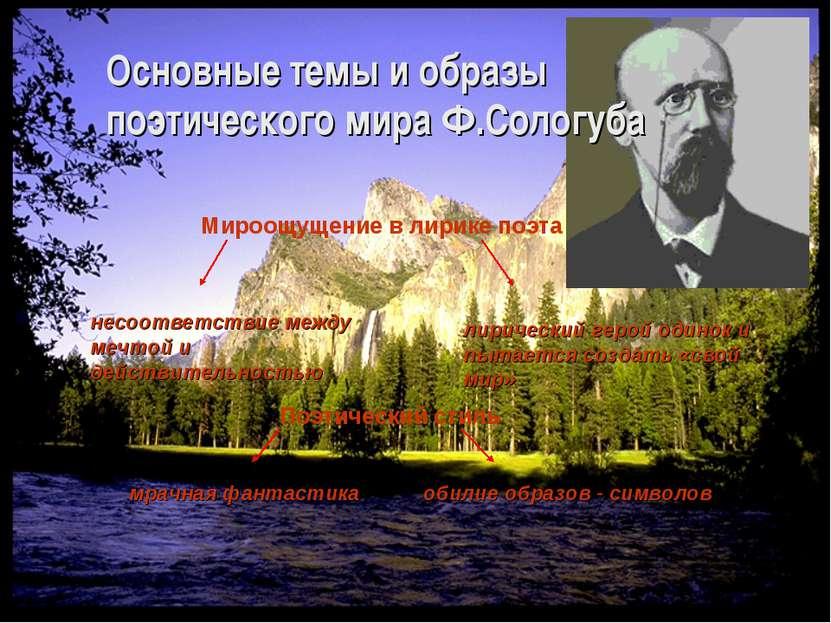 Основные темы и образы поэтического мира Ф.Сологуба Мироощущение в лирике поэ...