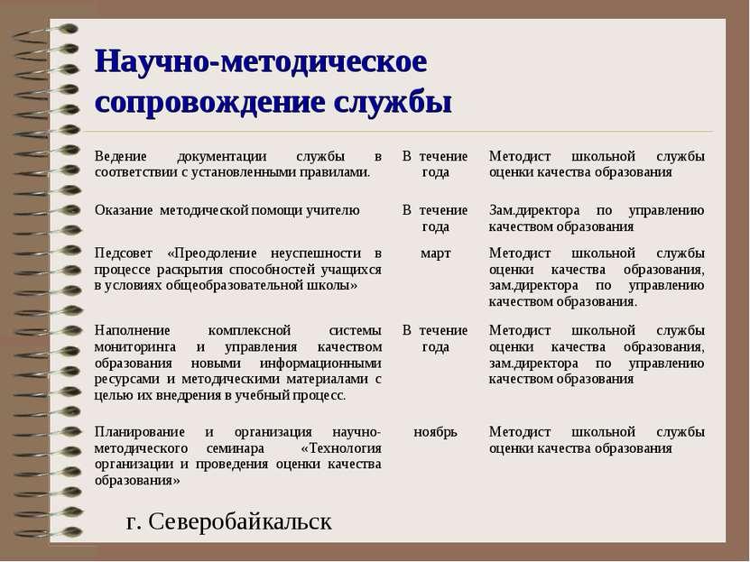Научно-методическое сопровождение службы г. Северобайкальск