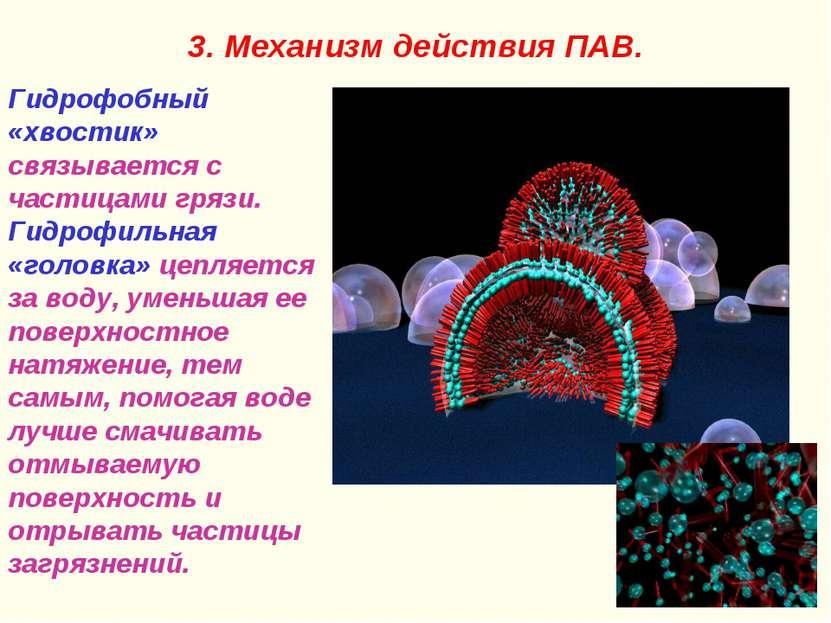 3. Механизм действия ПАВ. Гидрофобный «хвостик» связывается с частицами грязи...