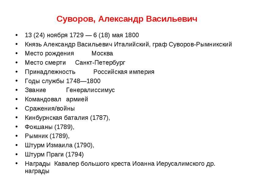 Суворов, Александр Васильевич 13 (24) ноября 1729 — 6 (18) мая 1800 Князь Але...