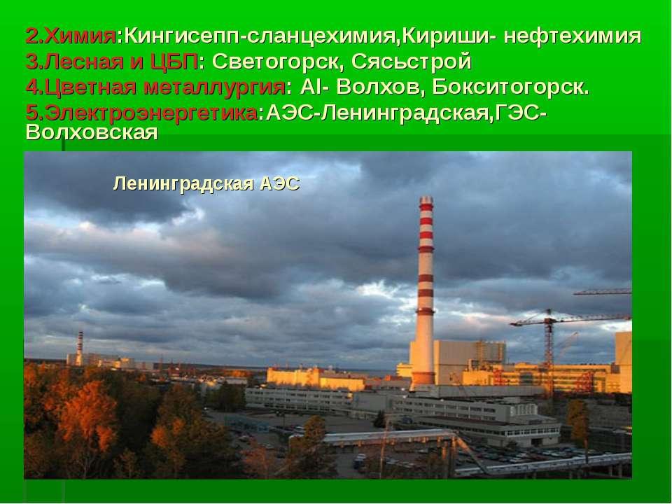 2.Химия:Кингисепп-сланцехимия,Кириши- нефтехимия 3.Лесная и ЦБП: Светогорск, ...