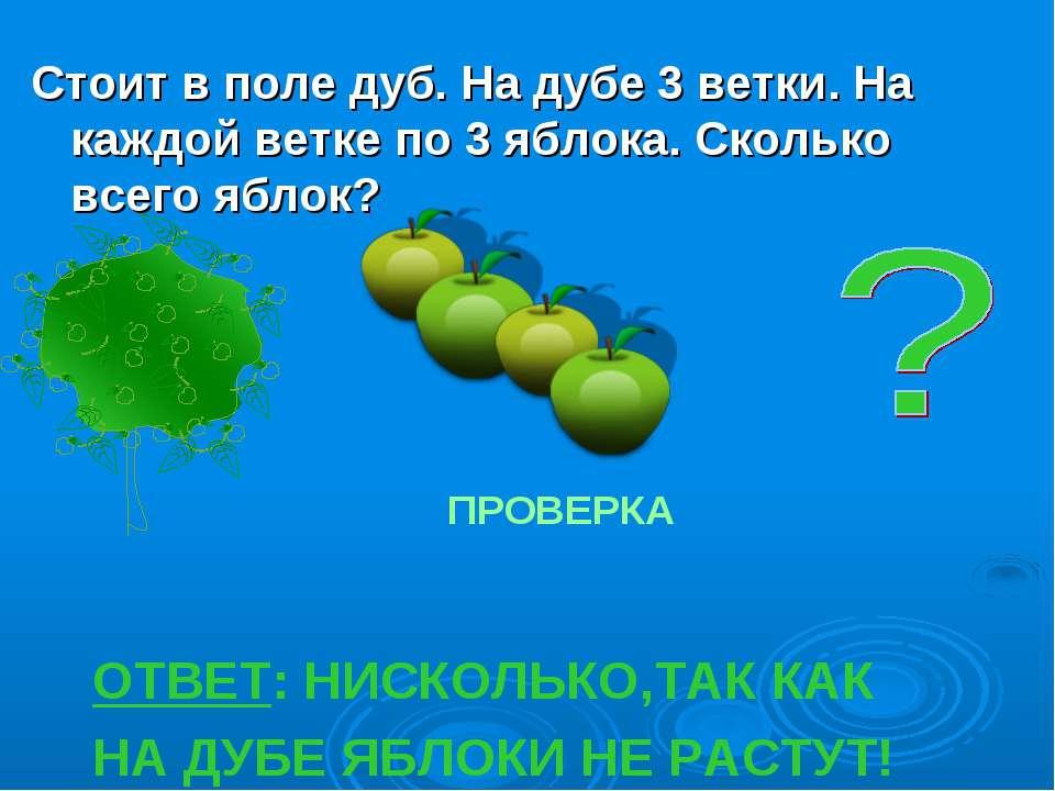 Стоит в поле дуб. На дубе 3 ветки. На каждой ветке по 3 яблока. Сколько всего...