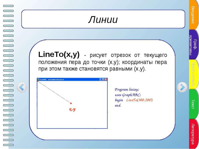 Линии LineTo(x,y) - рисует отрезок от текущего положения пера до точки (x,y);...