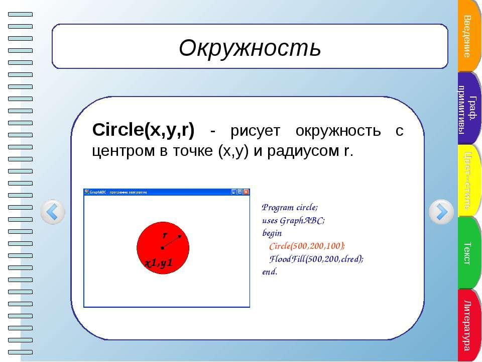 Окружность Circle(x,y,r) - рисует окружность с центром в точке (x,y) и радиус...