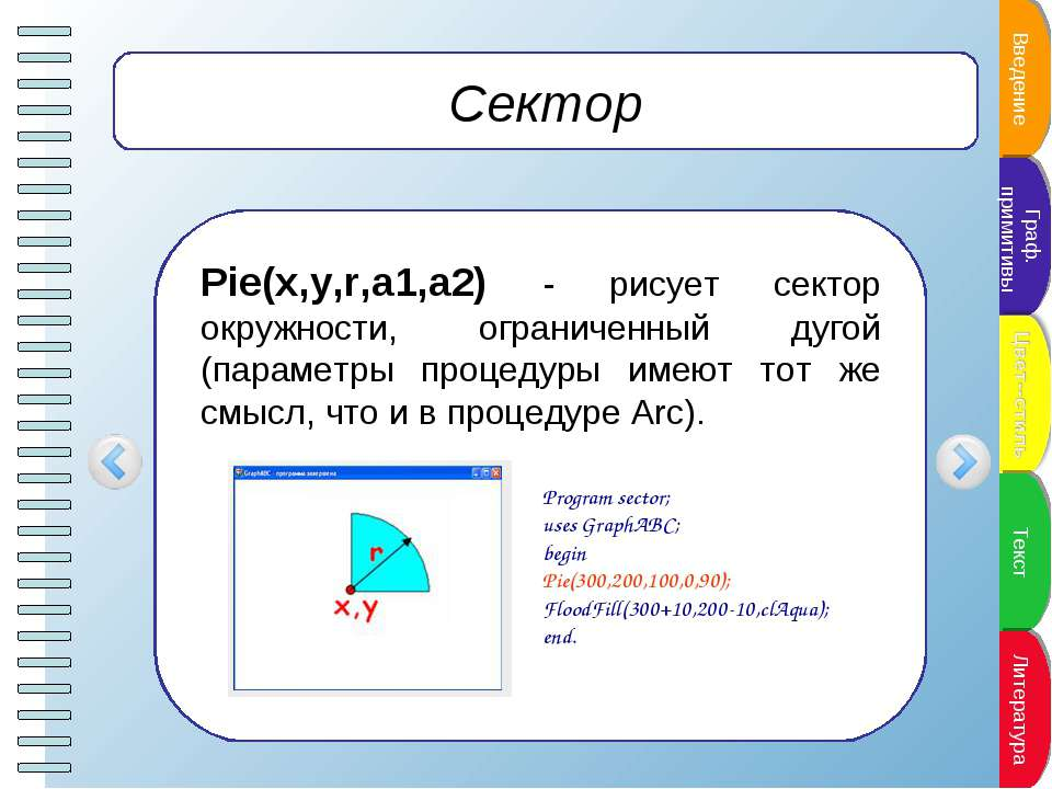 Сектор Pie(x,y,r,a1,a2) - рисует сектор окружности, ограниченный дугой (парам...