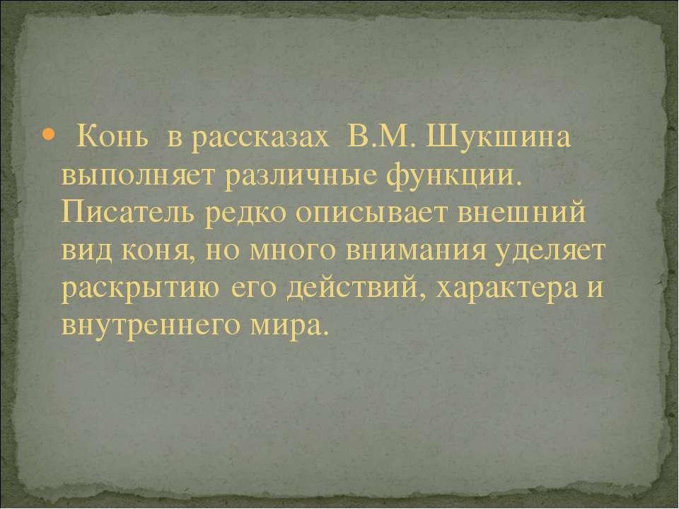 Конь в рассказах В.М. Шукшина выполняет различные функции. Писатель редко опи...