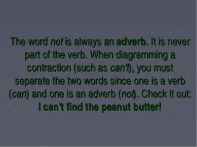The word not is always an adverb. It is never part of the verb. When diagramm...