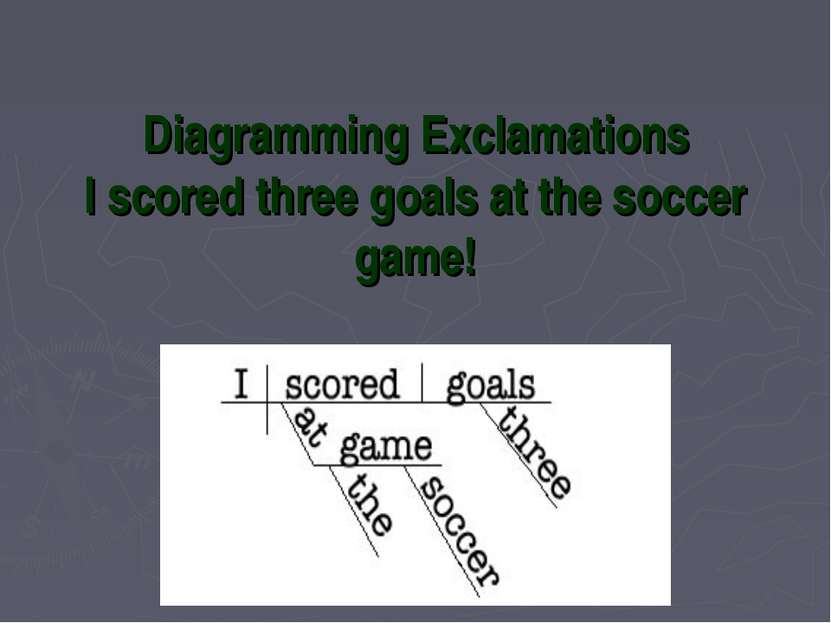 Diagramming Exclamations I scored three goals at the soccer game!
