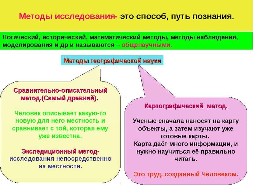 Методы исследования- это способ, путь познания. Логический, исторический, мат...