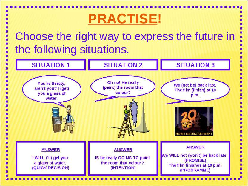 PRACTISE! Choose the right way to express the future in the following situati...