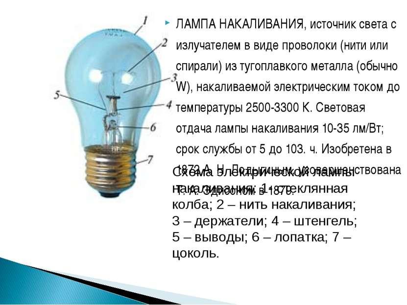 ЛАМПА НАКАЛИВАНИЯ, источник света с излучателем в виде проволоки (нити или сп...