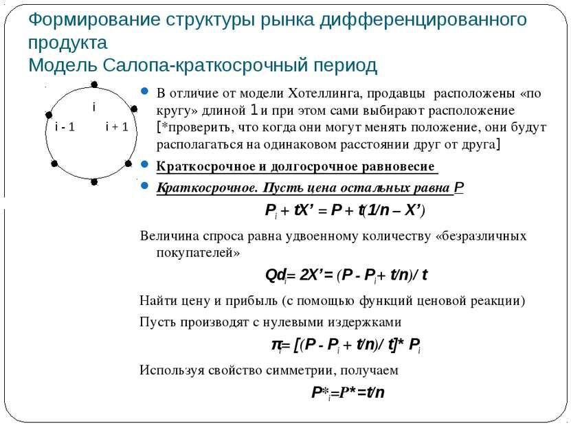 Формирование структуры рынка дифференцированного продукта Модель Салопа-кратк...