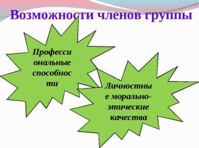 Возможности членов группы Профессиональные способности Личностные морально-эт...