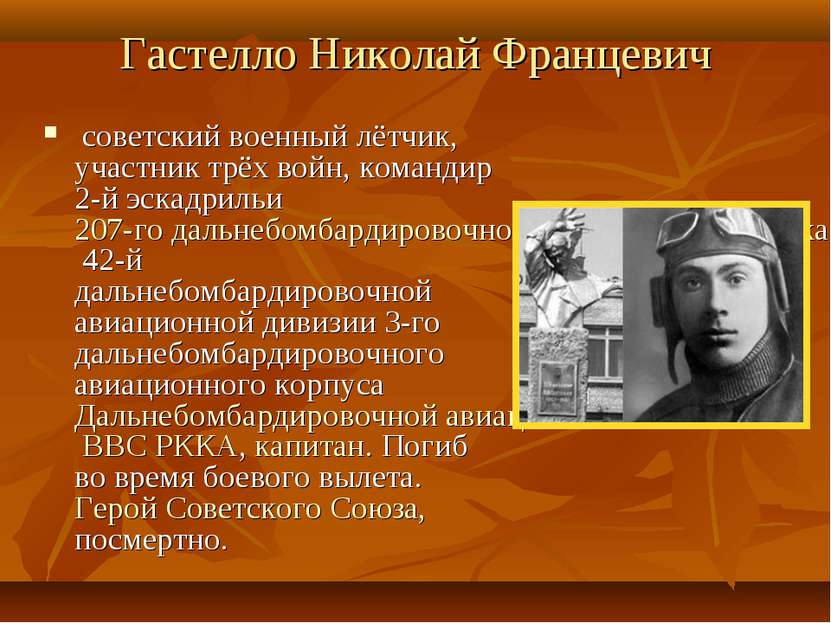 Гастелло Николай Францевич советский военный лётчик, участник трёх войн, ком...