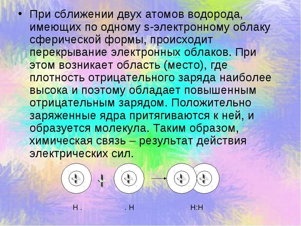 При сближении двух атомов водорода, имеющих по одному s-электронному облаку с...