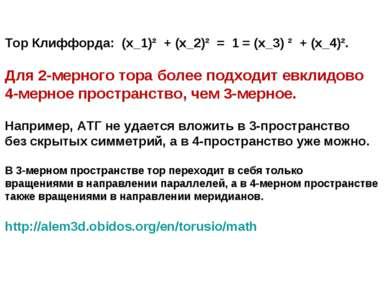 Тор Клиффорда: (x_1)² + (x_2)² = 1 = (x_3) ² + (x_4)². Для 2-мерного тора бол...