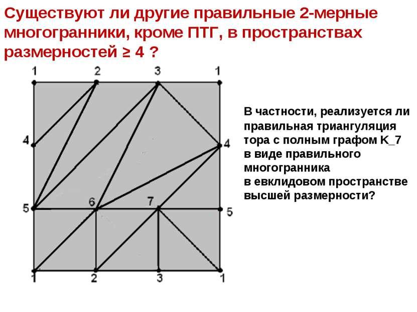 Существуют ли другие правильные 2-мерные многогранники, кроме ПТГ, в простран...