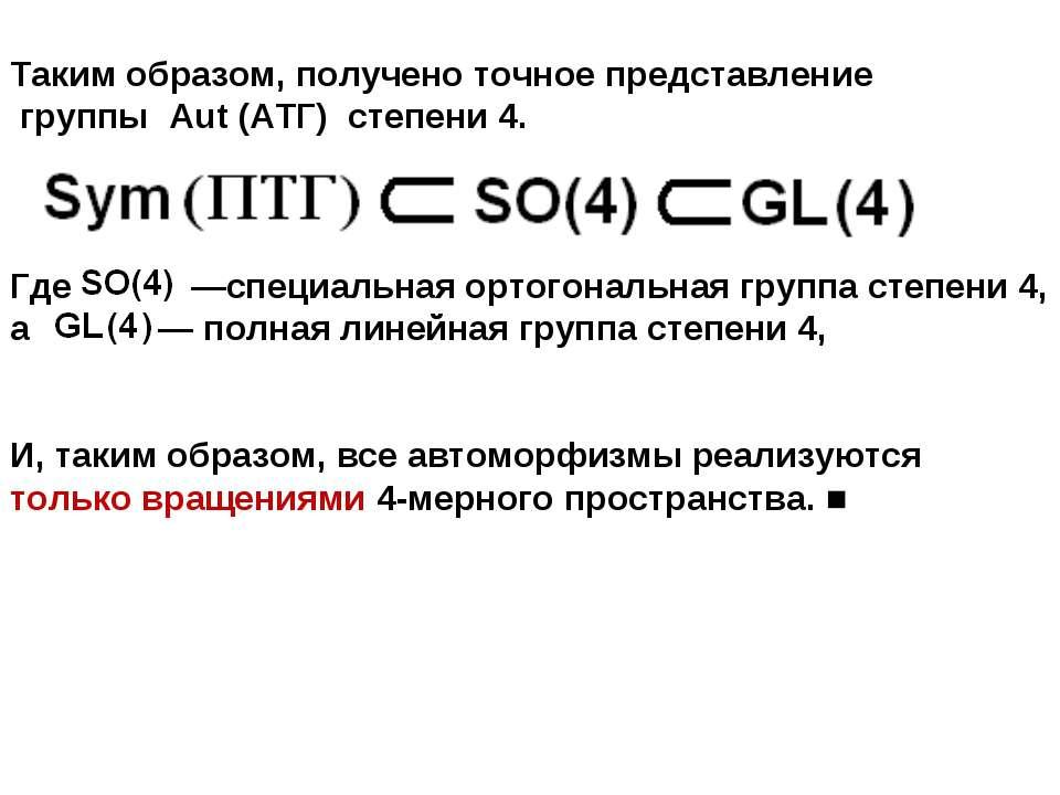 Таким образом, получено точное представление группы Aut (АТГ) степени 4. Где ...