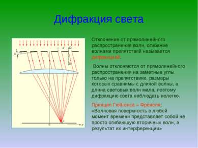 Дифракция света Отклонение от прямолинейного распространения волн, огибание в...